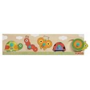 Drewniana układanka z uchwytami dla dziecka mieszkańcy ogrodu DJECO DJ01112