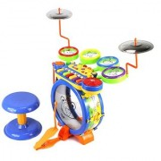 Junior DJ Drum Band 2-in-1 Children's Musical Instrument Toy Drum & Keyboard Play Set 7 Key Piano w/ 5 Drums 2 Cymbals DJ Mixer Animal Sounds
