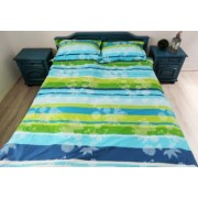 Lenjerie de pat 1 persoana Bumbac satinat RANFORCE model verde in combinatie cu albastru turquoise