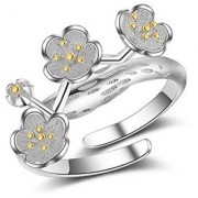 Exclusive Flower Design Silver Cubic Zirconia Crystal Trendy Adjustable Ring For Women Girls