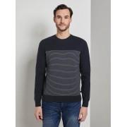 TOM TAILOR Sweater in een getextureerde mix, navy white stripe, XXXL