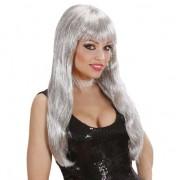 Merkloos Zilveren glitter pruik