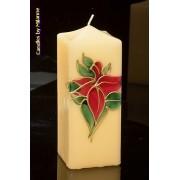 kaarsen: Glas in Lood kaars, Vierkant, H: 17,5 cm - Kerst