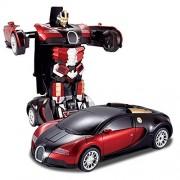 Tabu Toys World Bugatti Car With Audio & Remote Control Transformer Convertible Car & Robot - Red