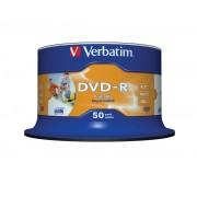"DVD-R VERBATIM 4.7 GB, 120 min, viteza 16x, Single Layer, spindle, printabil, ""Wide Inkjet Printable"", 50 buc/set"