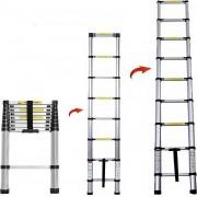 Professionele Telescopische Uitschuifbare Ladder - Telescoop Ladder - Klus Trap - Lichtgewicht & Ruimtebesparend - Antislip - Aluminium - Telescooplader - Werkhoogte 3,5 Meter