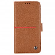 GEBEI Yaqi Series Genuine Leather Flip Wallet Phone Cover for iPhone 11 Pro Max 6.5 inch (2019) - Brown