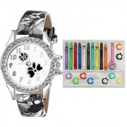 New Fancy Flower Dimond And Kids 11 Belt Analogue Black And Multicolor Color Girls And Women Watch (Combo of 2 ) Watch