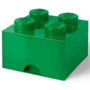 cutie de depozitare LEGO 4 - verde inchis cu un sertar de 250 x 250 x 180 mm