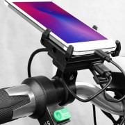 GUB G-85E USB Rechargeable Motorcycle Phone Holder Electric Bike Phone Mount Bike Handlebar Extender 12-24V - Black