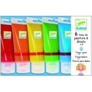 Farby do malowania palcami w tubkach - 6 szt. w różnych kolorach, DJECO DJ08860