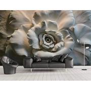 Sykdybz Papel pintado 3d para las paredes Mejoras para el hogar No tejidos Fondos de pantalla Estereo Relief Roses Pintura decorativa Papeles de pared 3d 400x300cm