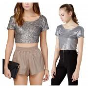 Verano Sexy Sequins Decor Crop Top Camiseta Sin Espalda Manga Corta Mujeres -Plata
