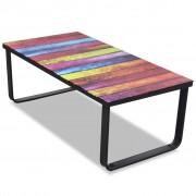 vidaXL Skleněný konferenční stolek s duhovým potiskem