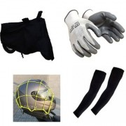 MPI Bike Combo- Universal Bike Cover Biker Glove Arm Sleeves Cargo Net