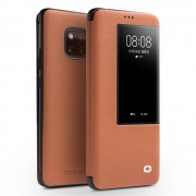 QIALINO for Huawei Mate 20 Pro View Window Cowhide Leather Smart Case - Brown