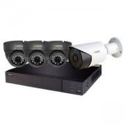 Комплект за видеонаблюдение Q-See 3 бр. вътрешни + 1 бр. външна AHD камери (1080P) + 4-канален DVR видеорекордер, QTH94-4K3