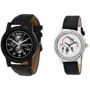 Laurex Analog Leather Watches for Lovely Couple Combo-LX-058-LX-146