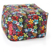 Style Homez Square Cotton Canvas Floral Printed Bean Bag Ottoman Stool Large with Beans Multi Color