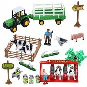 23 Pieces Dairy Farming Fun Playset with Tractor