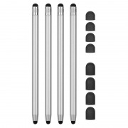 2-in-1 Universal Capacitive Stylus Pen - 4 Pcs. - Silver
