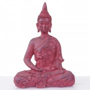 XL Deko Figur Buddha 39cm, Polyresin Skulptur, In-/Outdoor sitzend rot ~ Variantenangebot