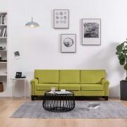 vidaXL 3-местен диван, зелен, текстил