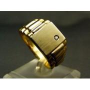 Zlatý pánsky prsteň žlté zlato vsadený zirkón VP66820Z