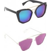 Pogo Fashion Club Butterfly, Retro Square, Over-sized Sunglasses(Blue, Violet)