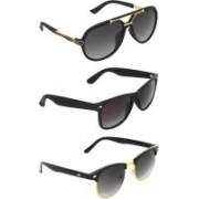 Zyaden Rectangular, Clubmaster, Wayfarer Sunglasses(Black, Green, Black)