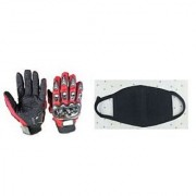 Combo Red Pro-biker Gloves+Anti Pollution Face Mask