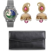 ANJC-005 Arum combo of Silver Peacock watch with Black wallet and Pink Pearl jhumki