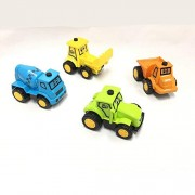 MaaShiva Friction Powered Cars Push and Go Car Construction Vehicles Toys ( Tractor, Bulldozer, Cement Mixer Truck and Dumper) Set of 4