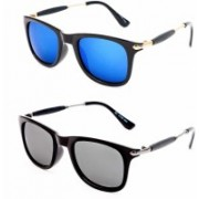 MR.KING Wayfarer, Rectangular Sunglasses(Blue, Silver)