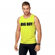 Bellatio Decorations Sport shirt met tekst Big boy neon geel heren