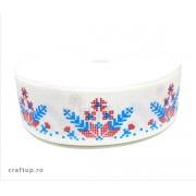 Bandă decorativă -Tafina 25mm - fulg de nea albastru (rolă 25m)