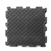 Černá gumová modulární fitness deska - délka 30 cm, šířka 30 cm a výška 0,6 cm