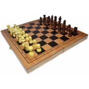 Joc 3 in 1: Sah, table, dame cutie medie din lemn 40 cm