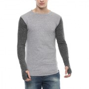 Urbano Fashion Men's Grey Thumbhole Cotton T-Shirt (Size : Small)