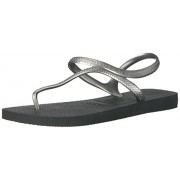 Havaianas Women's Flash Urban Sandal Flip Flop, Black/Silver, 37 BR/7/8 W US