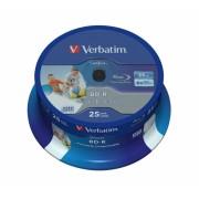 BD-R Verbatim SL DATALIFE 6X 25GB 25PK SPINDLE WIDE PRINTABLE NO ID (43811)
