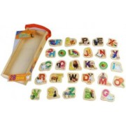 Set litere din lemn cu magneti 28 piese