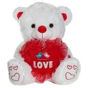 "Calplush My First Kiss 11"" White Bear LED Lights Plush Animal Toy"