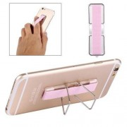 2 in 1 Adjustable Universal Mini Adhesive Holder Stand + Slim Finger Grip for Mobile Phones and Tablets Size: 7.3 x 2.2 x 0.3 cm(Pink)
