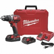 Milwaukee M18 Lithium-Ion Cordless Compact Electric Drill Driver Kit With 2 Batteries - 1/2Inch Keyless Chuck, 1800 RPM, Model 2606-22CT
