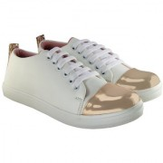 Blinder Women's White Golden Lace-Up Casual Sneakers Shoes