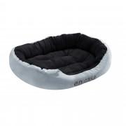 [en.casa]® Cama para mascotas - cama para perros - con cojín reversible - tejido Oxford / Algodón-PP - 85 x 70 x 23 cm [L] - Gris / Negro