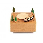 Royarebar Creative Baby Toys Music Boxes Wooden Square Shape Base Music Box Base and Train-Large