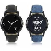 KDS New Black And Blue Leather Belt Analog Best Designing Stylist Combo Lorem Watch For Men Boys