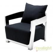 Fotoliu design modern cu tesatura de culoarea neagra Rubautelli otel inoxidabil 109618 HZ